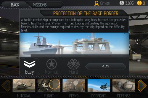 主選單 → 任務(mission):可以選飛行教程(tutorial)、飛行(flight)、射級(firing)、飛機對戰(dogfight)、防禦(defense)