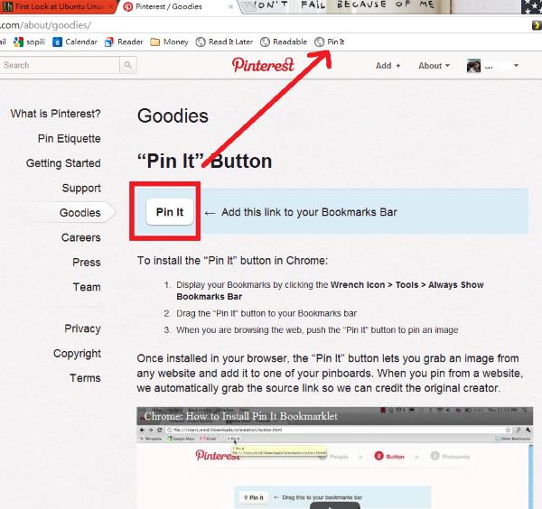 把「Pin it」的書籤拉到書籤列中。