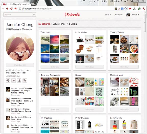 Pinterest 個人頁:每個人在Pinterest上的個人頁面都是公開的。介面很漂亮吧!