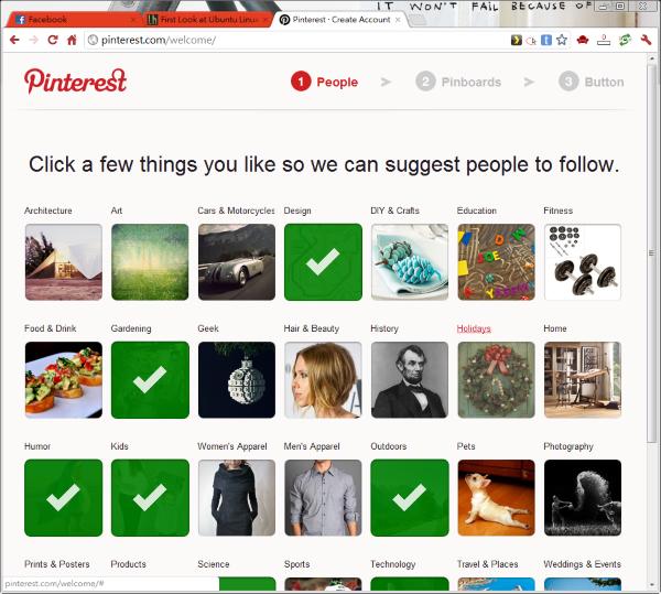 在註冊時,要先選擇你感興趣的項目,它會把相關項目的圖片放在你的 Pinterest 首頁裡面。