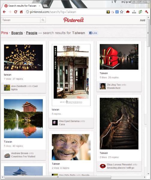 在 Pinterest 搜尋你喜歡的圖片。下圖是搜尋「Taiwan」