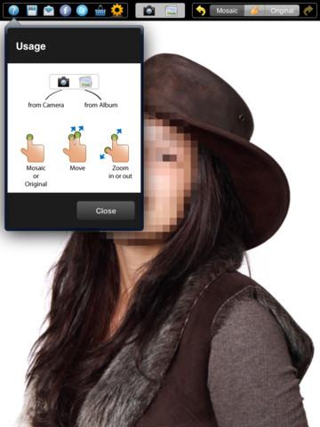 單點觸控是打馬賽克或取消馬賽克;用兩根手指頭來移動相片;放大縮小跟原本的操作一樣。