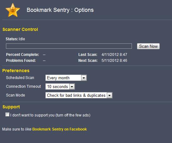 安裝完之後 在右上角的選項 → 工具 → 擴充功能 打開 Bookmark Sentry 的選項。Scheduled Scan 可以設定週期性清理;記得勾選下面 Support 的 I don\'t want to support you,以避免日後出現廣告。接著按 Scan 就可以開始掃描了。