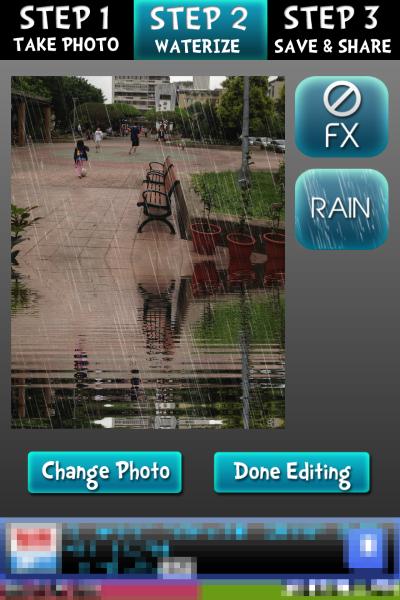 也可以加上下雨的效果,完成就按一下 Done Editing