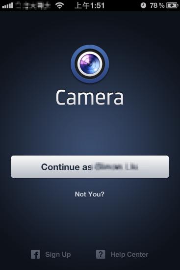 第一次進入 facebook 相機,它會問你是不是要用這個帳號登入。按下Continue...之後,它會順便在你的 facebook 上說你開始用 facebook 相機了