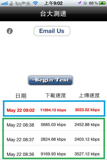 7 wifi 的測速結果:上面藍色的部份,是我在家裡 hinet 光世代的;下面綠色部份是 7 wifi,7 wifi 大致上是 ok 的