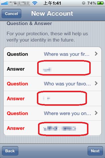 需要選擇三個問題,要自己填上答案。看得懂就填,看不懂就隨便填。