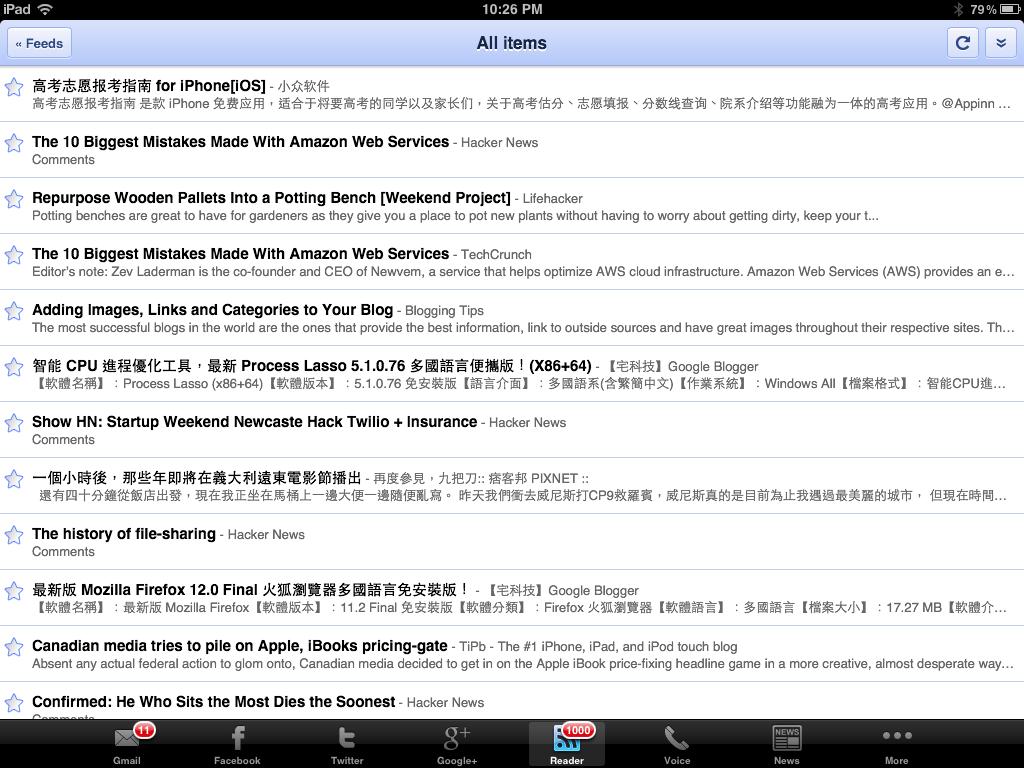 Google Reader 分頁