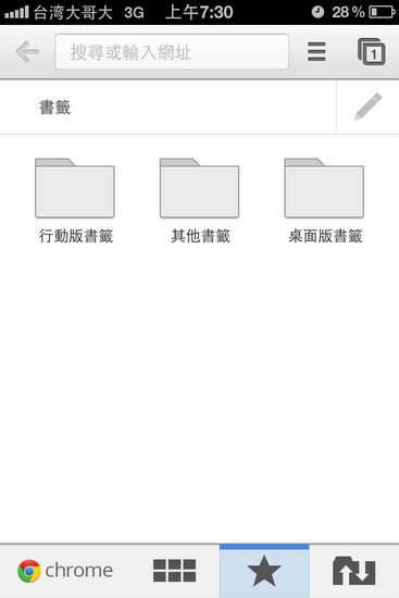 第二個按鈕是同步的書籤功能,Chrome將書籤分為手機版和電腦版。