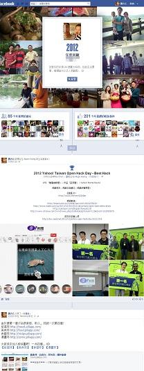 你的年度回顧,以時間軸(timeline)的模式,facebook為你精選了20個重大事件。
