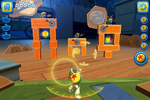 用球把積木打垮,讓三個小綠人(合異之星)掉下來即可。金色的方塊也要順便吃到,丟的球數越好越好,才能得三顆星。