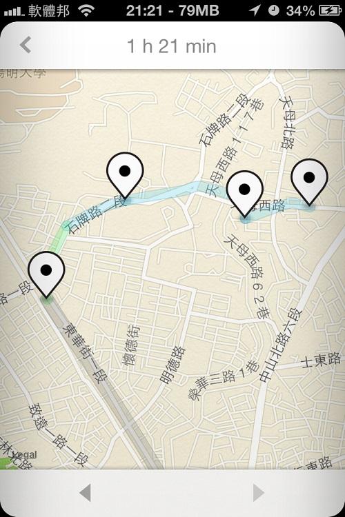 在天母的地點拉進看,到達捷運後,都是用走的,中間停下來查地圖、親子園、市集都有記錄下來