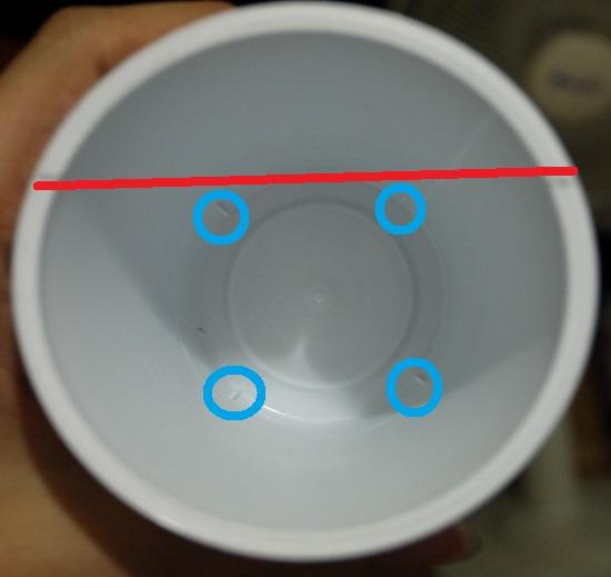 杯底有四個支撐點,跟你畫的線要平行會比較好